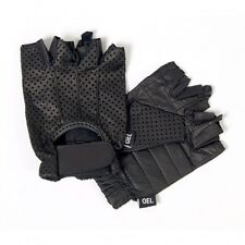 Black Vented Leather FINGERLESS Unisex Gloves Motorcycle Biker Driving Riding