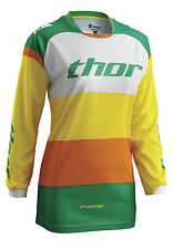 Thor Phase Bonnie Womens MX/Offroad Jersey Green/Yellow/Orange
