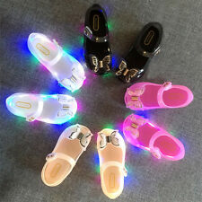 Kids Girls Toddlers Beauty LED Light Up Bowknot Silp on Flat Jelly Shoes Sandals