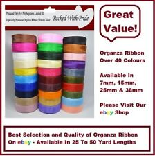 25-50 Yards Woven Edge Organza Ribbon - 7mm & 15mm - Choose From 30 Colours