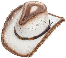 NEW! Western Straw Cowboy Hat - White with Brown Trim (S/M, L/XL)