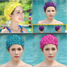 Floral Swim Cap for Ladies Woman Petal Style Swimming Hat Bathing Flower Cap