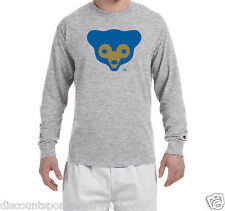Chicago Cubs Cubbie Throwback Logo Champion Long Sleeve T Shirt Mens New Tee