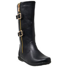 Kids Knee High Boots Girls Quilted Leather Zipper Trim Gold Buckle Riding Black