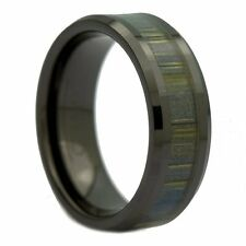 8mm Black Ceramic Ring, Inlay Made from Zebra Wood. Wedding Band