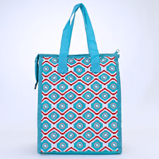 Turquoise & Red  Aztec Geometric Insulated Lunch Tote Bag-Lunch Bag
