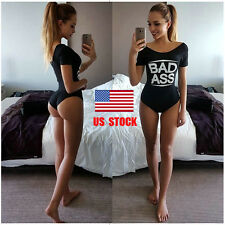 Women Letter Printed One Piece Slim Swimwear Gym Yoga  Jumpsuit Romper Bodysuit