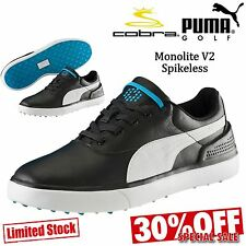 PUMA GOLF SHOES MENS GOLF SHOES SPIKELESS BLACK LEATHER PUMA MONOLITE V2 NEW