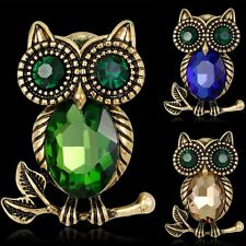 Women Cute Vintage Crystal Rhinestone Owl Animal Brooch Pin Friendship Jewelry