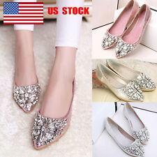 US Women Rhinestones Pointed Toe Slip On Flats Weeding Dress Loafers Pumps Shoes