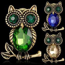 Charm Women Vintage Rhinestone Owl Animal Brooch Pin Jewelry For Wedding Party