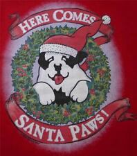 Here Comes Santa Paws Christmas Wreath Big Dogs Tee Shirt Dark Red Large XL 2X