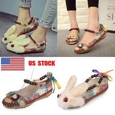 US Women Embroidered Buckle Rabbit Flats Oxfords Beads Woven Cloth Shoes Loafer
