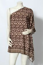 MICHAEL KORS Brown Animal Print Swim Cover Up Top Tunic Dress Sz XS / S NWT $140