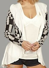 Black/Gray Off White Layer Look Scarf/Drape Shrug/Cover-Up Cardigan S/M/L