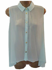 New Atmosphere @ Primark Green Top Size 16 18 Chiffon Blouse Sheer Summer