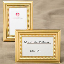Shiny Gold Picture Frames w/ Beaded Border Place Card Holder - Wedding Party
