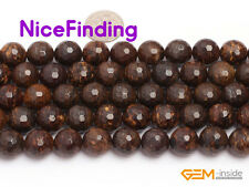 """Natural Faceted Brown Bronzite Round Stone Beads For Jewelry Making Strand 15"""""""