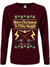 Merry Christmas Ya Filthy Muggle Christmas Jumper Women's Burgundy Sweater