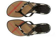 NEW BURBERRY  CHECK BLACK PATENT LEATHER THONG FLIP FLOPS SANDALS SHOES 39/US 9