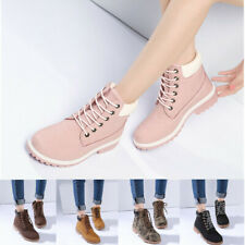 AU Women Ladies Hiking Boots Flat Ankle Desert Combat Chelsea Walking Shoes New
