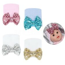 Cute Sequins Big bow infant Baby Girl Toddler Comfy Knit Hospital Cap Beanie Hat
