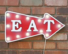 Metal Marquee EAT Arrow Light Cafe Eat Pub Food Diner Entrance Rustic Open Sign