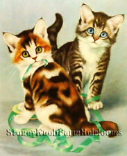 Two Kittens Playing with Green Ribbon ~ Vintage Cats ~ Cross Stitch Pattern
