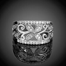 Fashion Rhinestone Hollow Flower Pattern Wide Ring Lady Palace Finger Band Hot