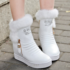 Girls Warm Snow Winter Boots High Wedge Heels Ankle Boots Faux Fur leather Shoes