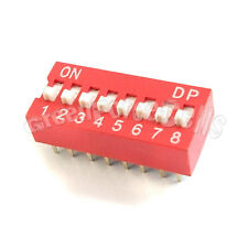20 8 Position Ways Slide Style DIP Switch 2.54mm Pitch Gold Tone 16 Pin PCB Code