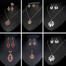 Women Vintage Colorful Rhinestone Crystal Pendant Necklace Earring Jewelry Set