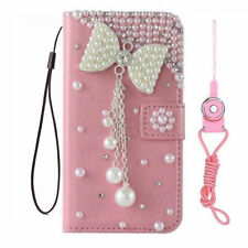 Handmade Bling Crystal Diamond Pink bow tassel leather wallet Cover case & strap