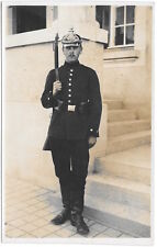 Real Photo Postcard Uniformed Soldier with Spiked Helmet Carrying Rifle~100465