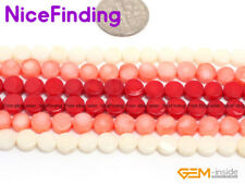 """6mm Pink Red White Coral Coin Loose Stone Beads For Jewelry Making Strand 15"""""""