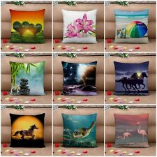 Linen Cotton Pillow Cases Cushion Cover Home Sofa Decor Square Floral Animal 2Ps