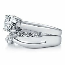 Sterling Silver 2.1 ct.tw Round Cubic Zirconia CZ Solitaire Engagement Wedding