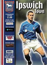 IPSWICH TOWN  HOMES PROGRAMMES 2001/2002 POST FREE
