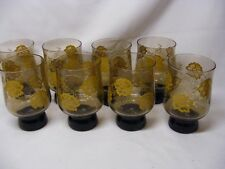 8 Retro Brown & Yellow Tumblers Weighted Bottoms