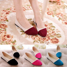 Women Patchwork Suede Pointed Toe Flats Casual Shoes Pumps Loafer Size 4 - 7.5