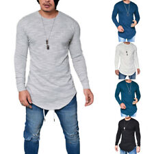 Mens Boys Casual Round Neck Long Sleeve Split Slim Basic Tees T-Shirt Tops S-2XL
