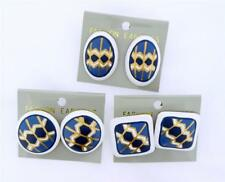 NEW White/Blue/Gold Painted Wood Pierced Earrings-Oval-Square-Round Choice