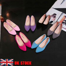 UK Women Suede Flats Pointed Toe Casual Dress Loafers Ballet Pumps Shoes Size