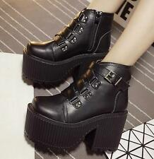 Women's Punk Gothic Lolita Cosplay Platform Chunky High Heel Ankle Boots Shoes