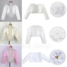 Kids Girls Wedding Dress Bolero Jacket Flower Girl Shrug Short Cardigan Cover Up