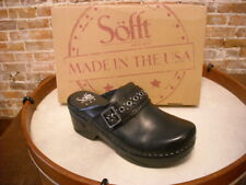 Sofft Carrieann Black Leather Buckle Detail Mule Clog NEW