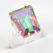 Rectangle Cut Amzing Gift Rainbow Mystical Fire Topaz Silver Ring Size 7 8 9
