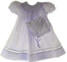 Petit Ami Infant Girls Lavender Smocked Bishop Dress & Bonnet