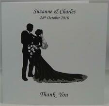 Personalised White Wedding Thank You Gift Cards Long Dress Design With Envelopes
