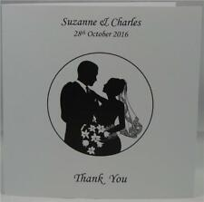 Personalised White Wedding Thank You Gift Cards Portait Design With Envelopes
